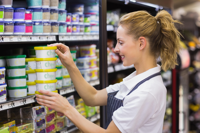 woman stocking shelves